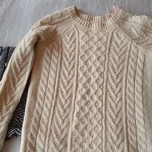 F21 cream cable knit sweater
